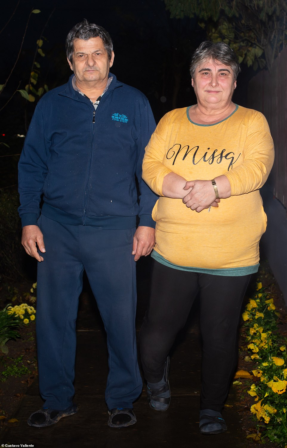 Katalin Nagy, 56, (with her husband) has been working at the factory for 42 years since she was 14 years old. She also worked as a seamstress on the Stella McCartney coat range, but more recently since orders have dried up she's been a cleaner