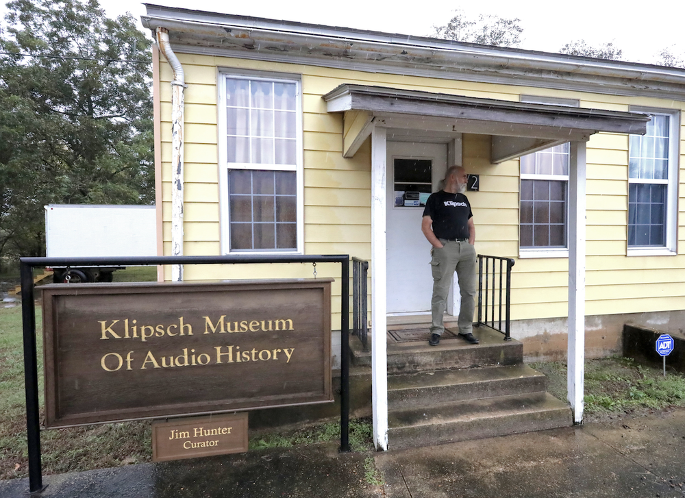 Jim Hunter, on the porch of the Klipsch Museum of Audio History, came to work at Klipsch as an engineer in 1978 and is now the museum's curator. (Arkansas Democrat-Gazette/JOHN SYKES, JR.)