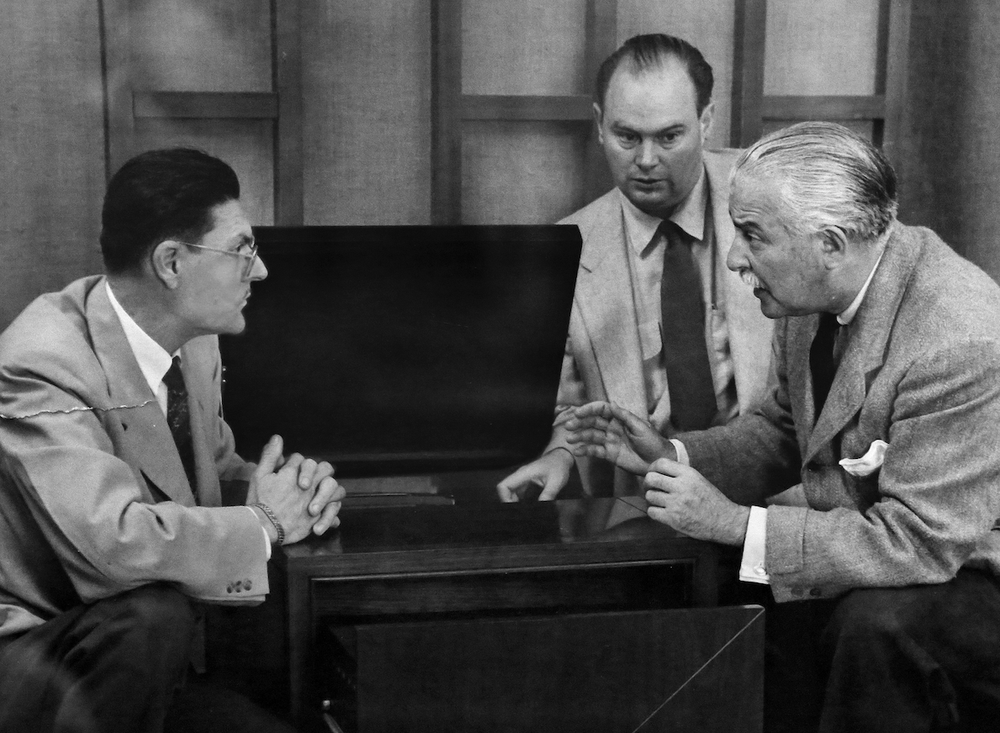 This undated photo, which hangs in the Klipsch Museum of Audio History, shows company founder Paul W. Klipsch (left) and Boston Pops Orchestra conductor Arthur Fiedler (right). Fiedler endorsed Klipsch speakers. The man at center is not identified.