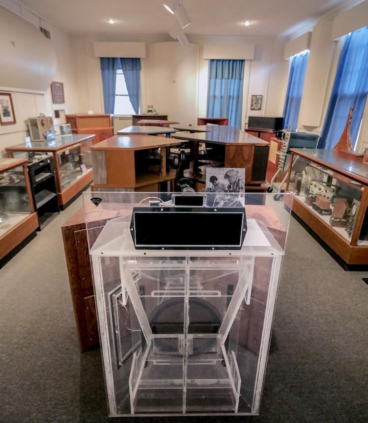 A version of the Klipschorn speaker made with Plexiglass. The Klipschorn was the flagship model of Klipsch & Associates, the stereo speaker maker in Hope. (Arkansas Democrat-Gazette/JOHN SYKES, JR.)