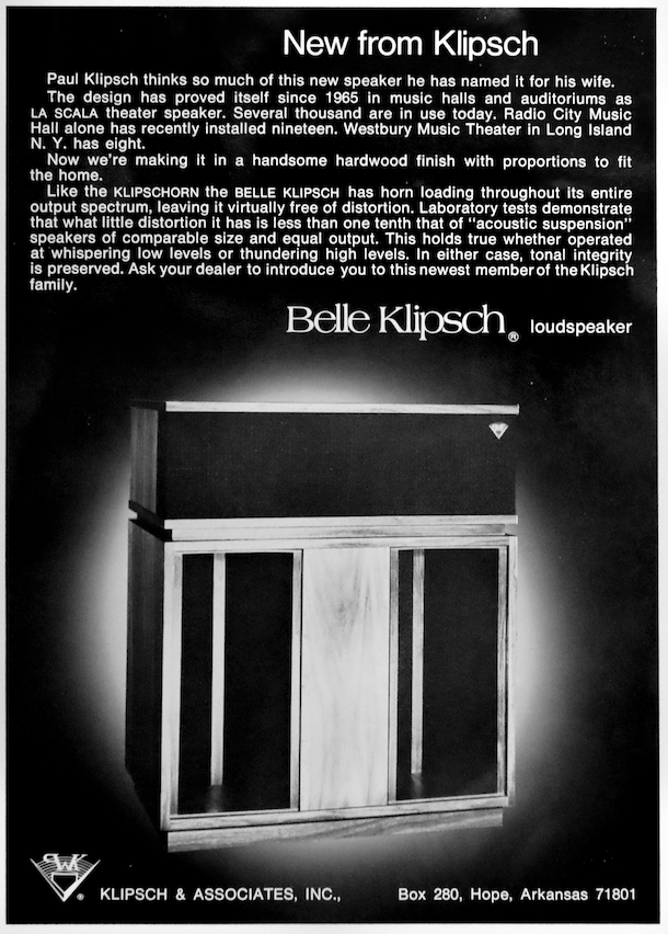 This is a magazine ad for the Belle Klipsch speaker at the Klipsch Museum of Audio History.