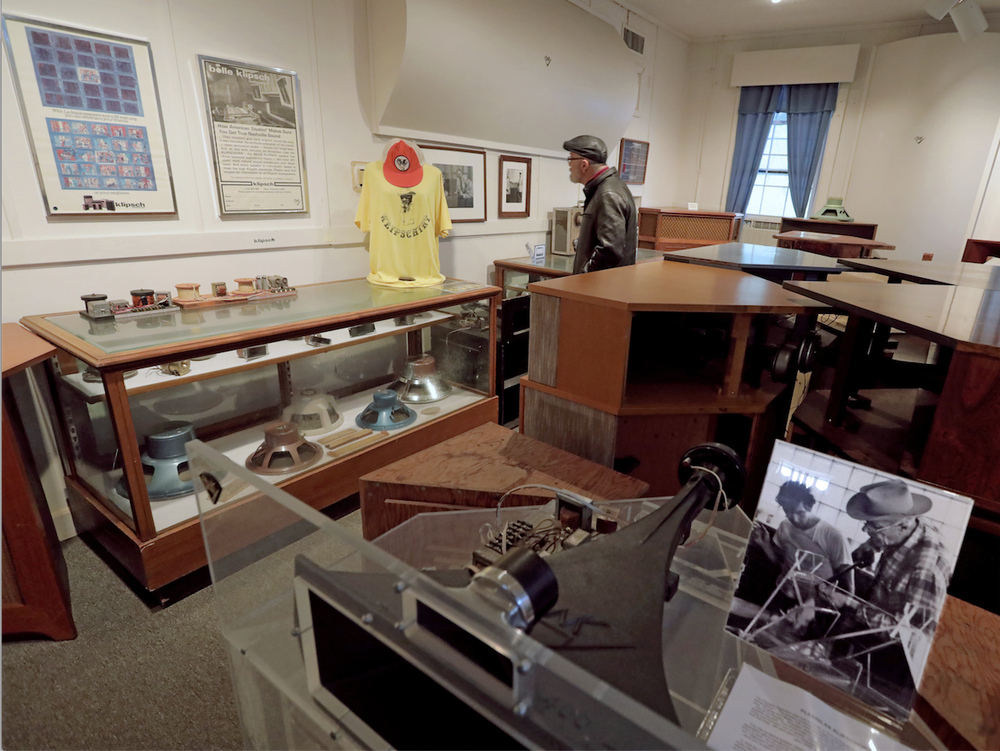 Randy Bradley of Tulsa looks at items during a visit to the Klipsch Museum of Audio History in Hope. Bradley is a devoted fan of the high quality stereo equipment made by the late Paul W. Klipsch. (Arkansas Democrat-Gazette/JOHN SYKES, JR.)