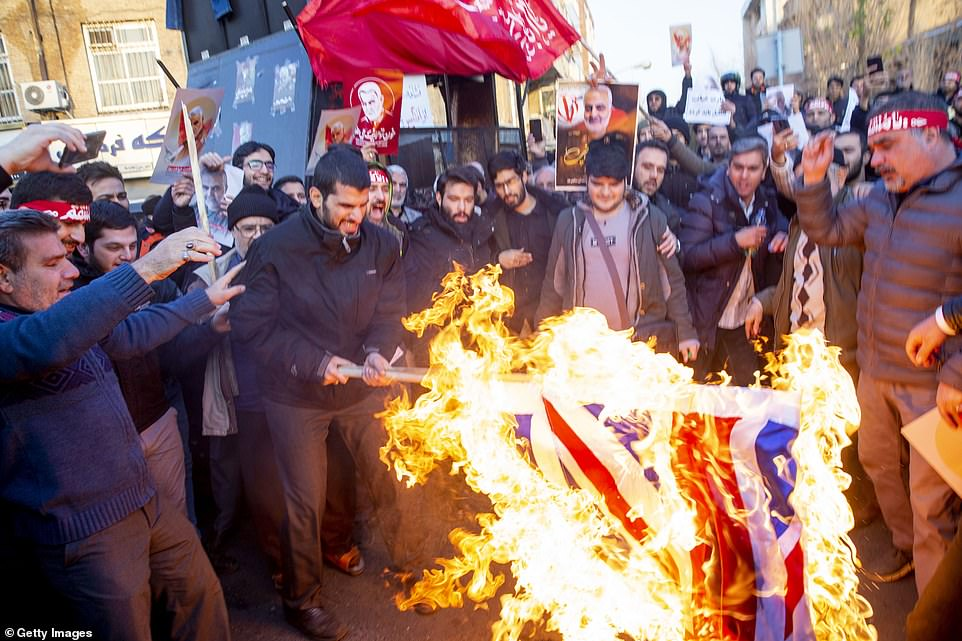Many of the flags produced by the factory are used in demonstrations in Tehran to protest against the UK and the West