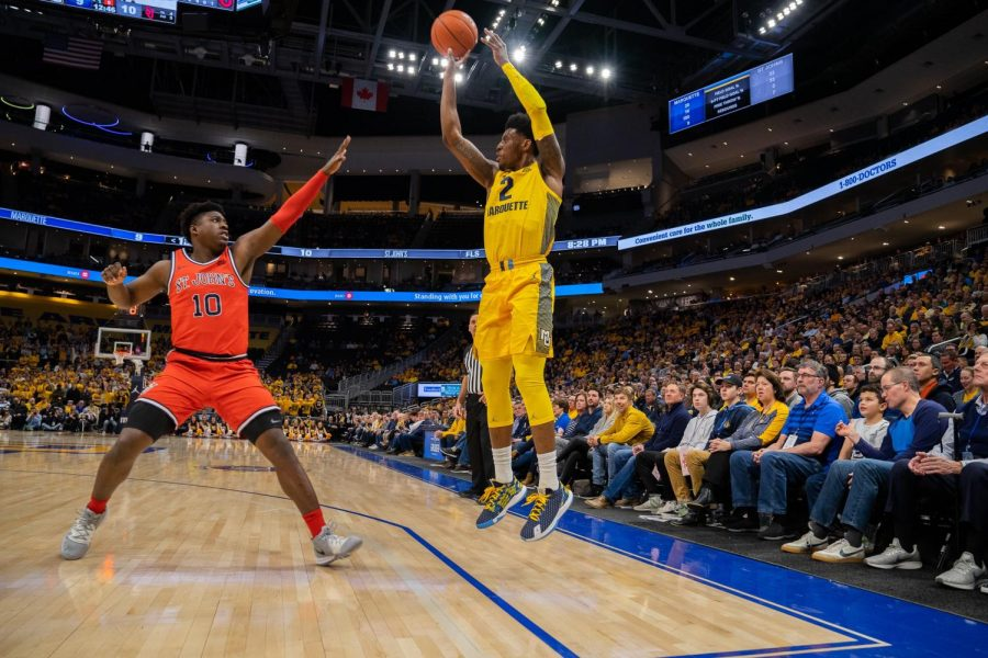 Sacar+Anim+%282%29+shoots+a+3-pointer+in+Marquette%27s+82-68+victory+over+St.+John%27s+at+Fiserv+Forum.+
