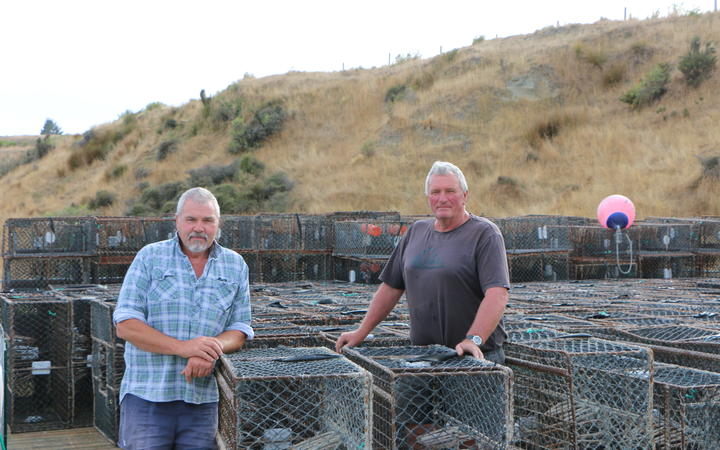 Motunau commercial crayfishers Geoff Basher (left) and Murray Vanstone (right).