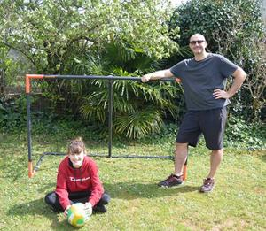 Time for fun: Mark and his daughter Kim are making great use of their garden