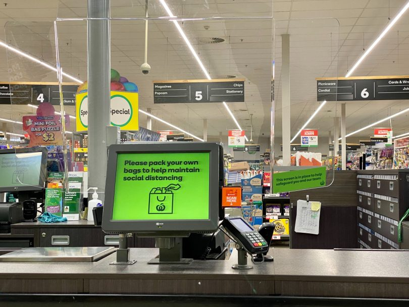 Perspex screens at Woolworths at Majura Park.