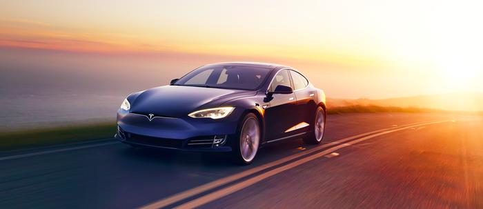 A blue Tesla Model S.