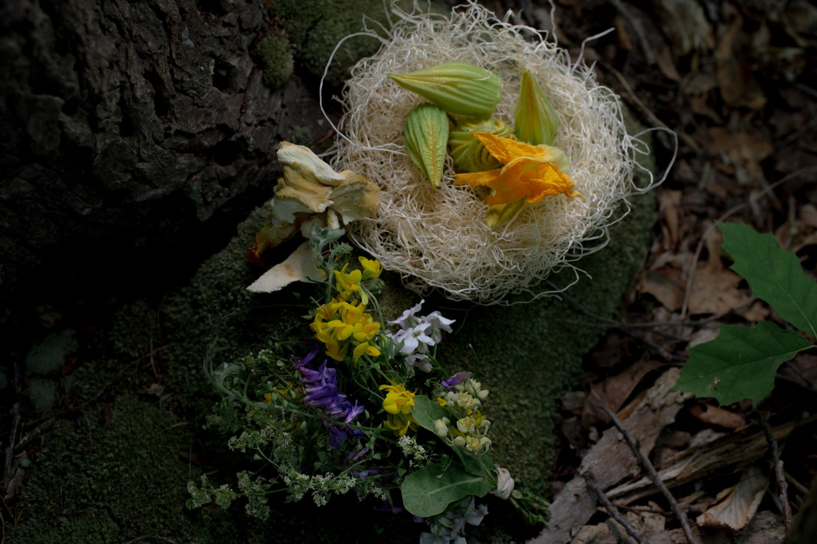 Basket with flowers.