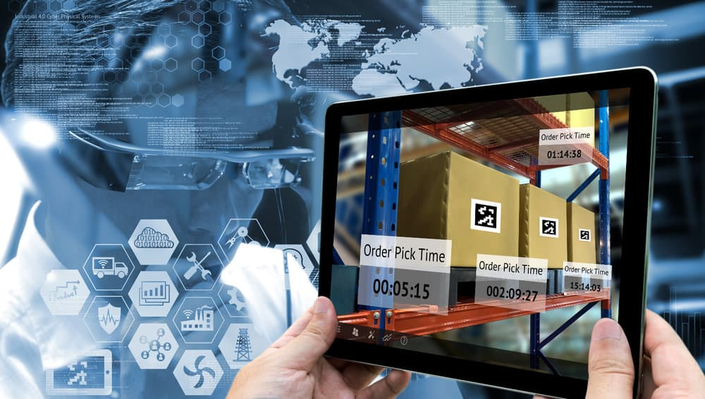 A digital supply chain is stylized in this photo.