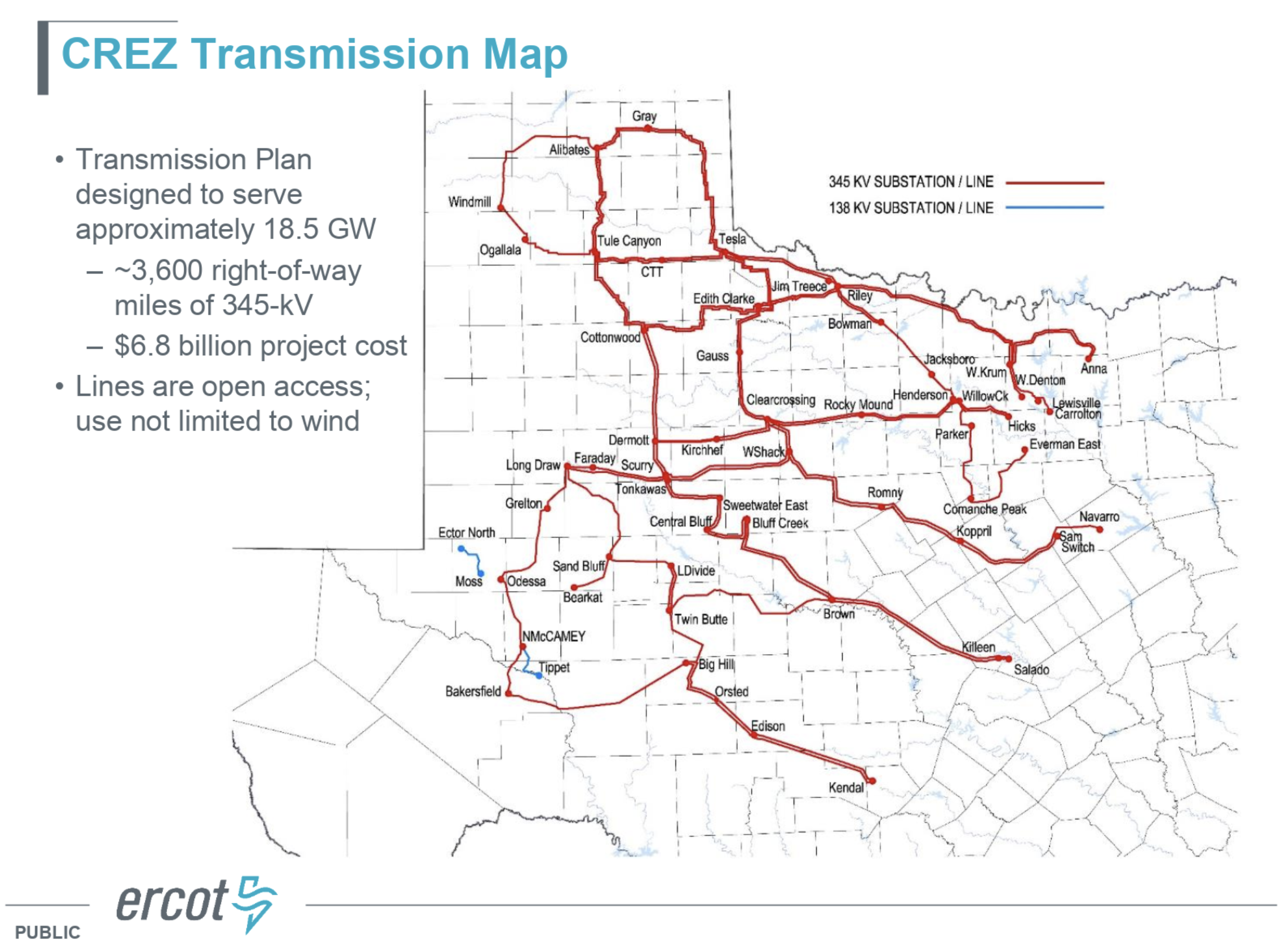 A map of Texas' newly added electricity transmission networks