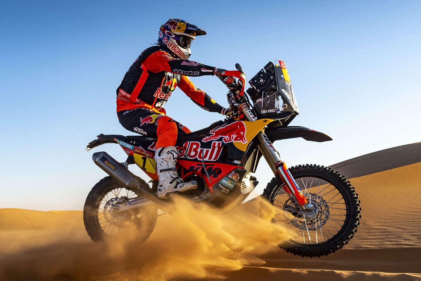 KTM dominates the world's toughest race, Dakar Rally. The race covers 8,000km over 13 days and KTM hasn't been beaten in the event for two decades. That's factory rider Toby Price on the factory KTM.