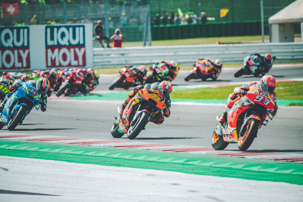 """These two bikes are indeed """"ready to race."""" That's Pol Espargaro on one of these bikes running second to Honda's Marc Marquez in a Grand Prix in 2019"""