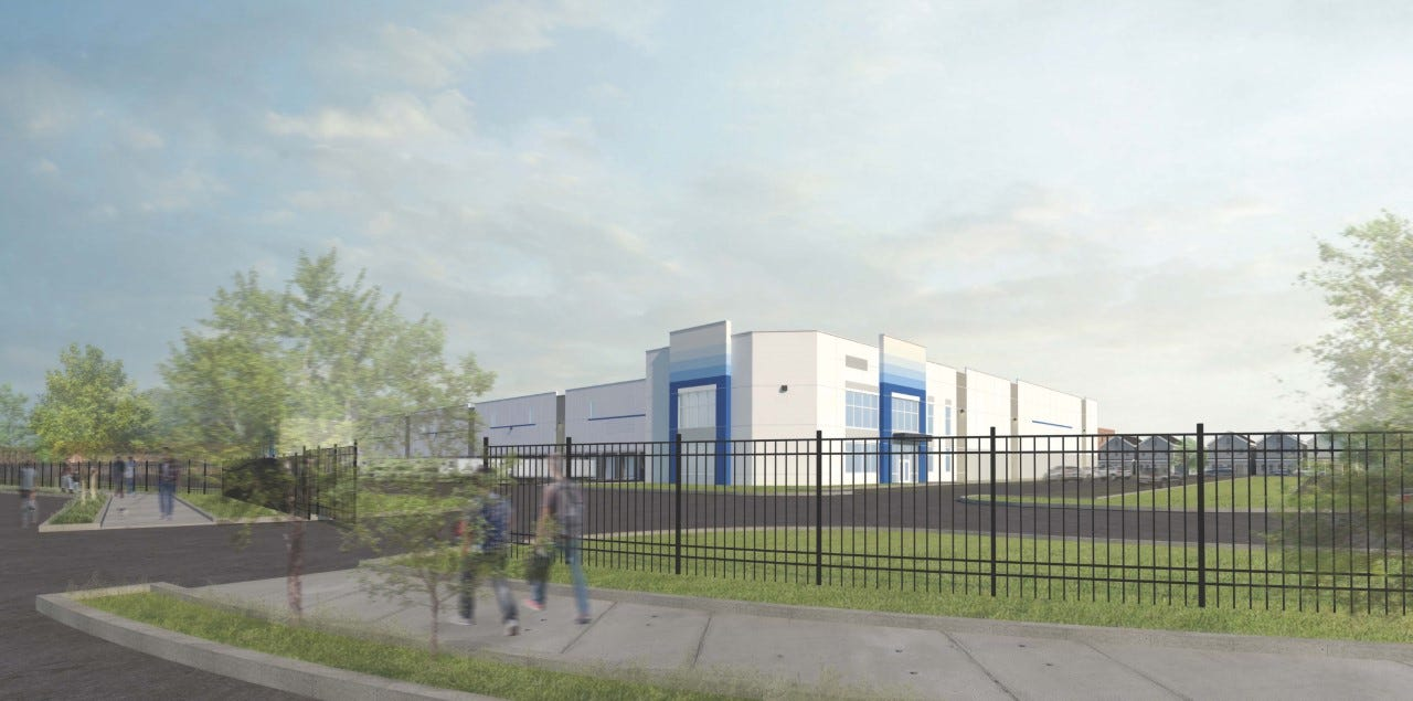 Rendition of what new logistics warehouse at 26 Jefferson Street in Passaic will look like.