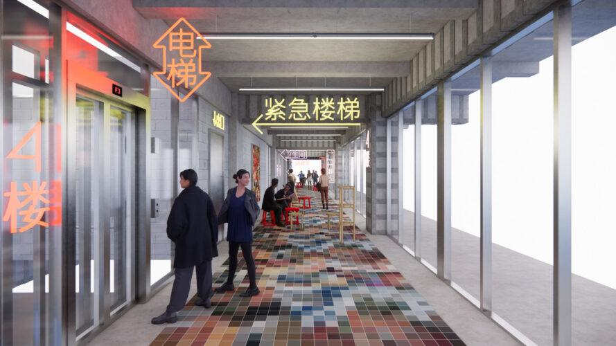rendering of hallway with colorful tiled floors and elevators along one wall