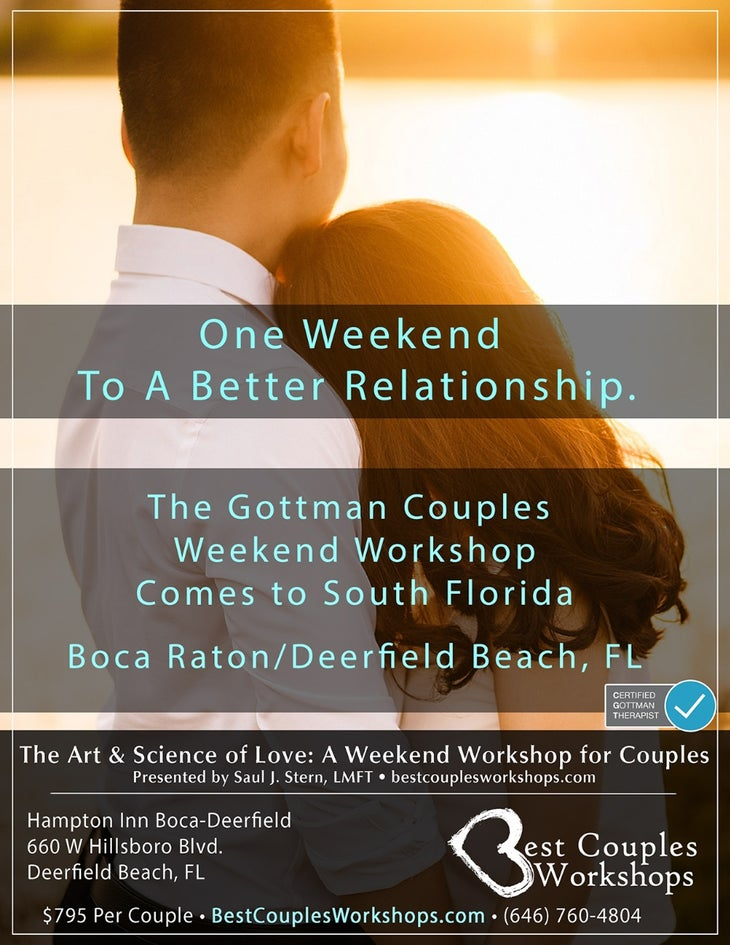 The Gottman Couples Weekend Workshop South Florida October 2020