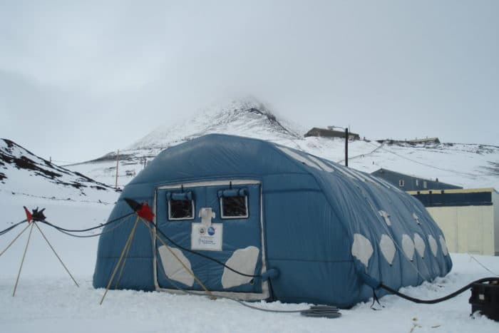 An inflatable building in Antarctica.