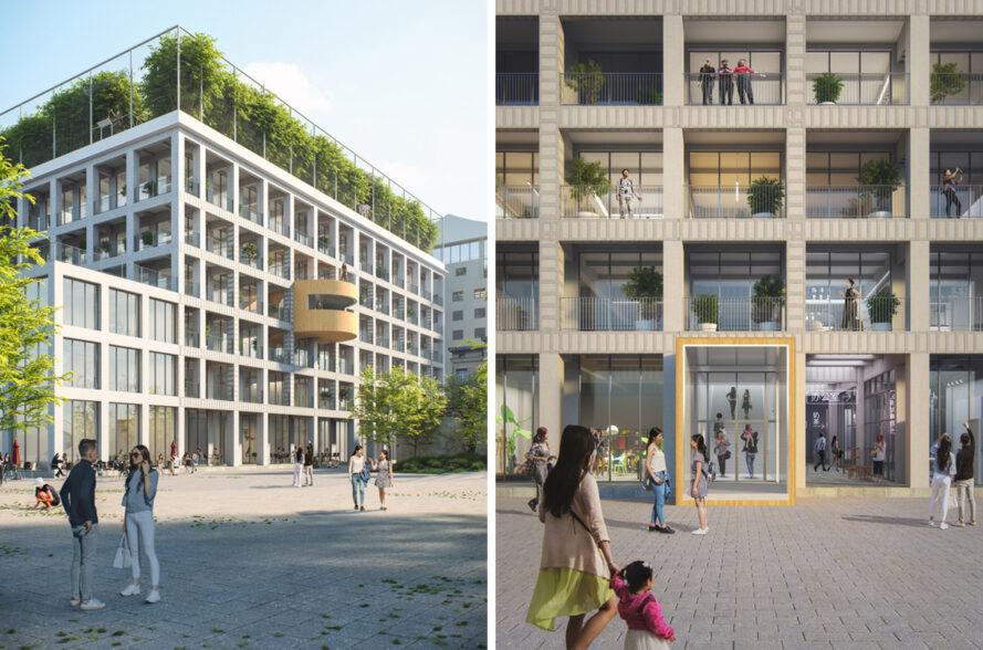 rendering of gridded facade of office building with a green roof