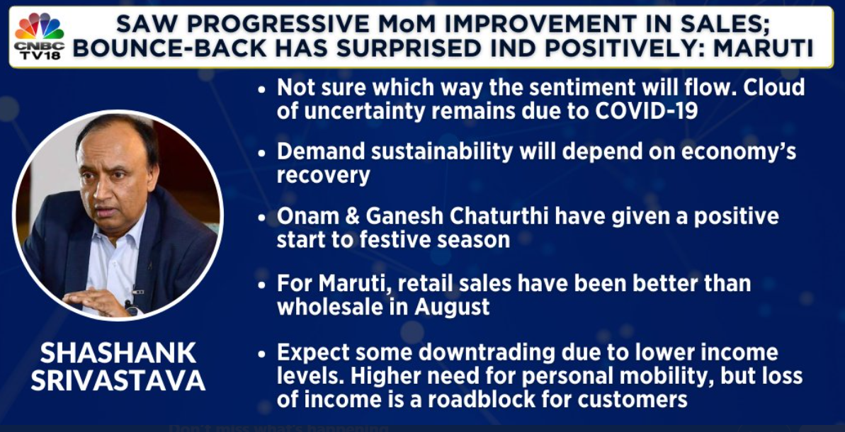 For Maruti, retail sales have been better than wholesale in August, says ED - (Marketing & Sales) Shashank Srivastava