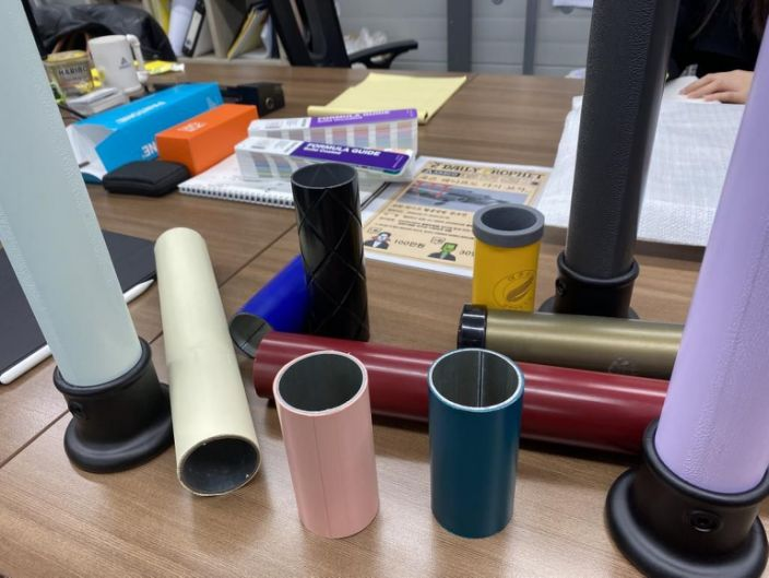 These plastic tubes form the basis for all of Kang's new chairs and stools.