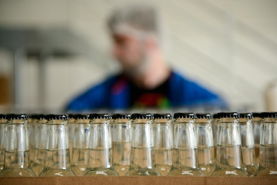 Bottles on the production line at The Start-Up Drinks Lab in Port Glasgow.