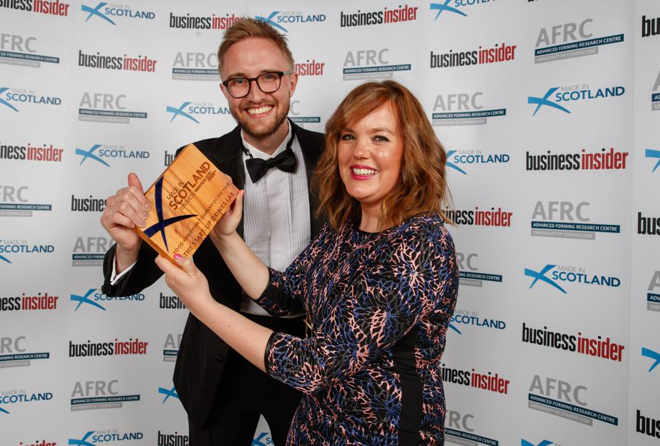 Hannah Fisher and Craig Strachan hold their Made in Scotland Award for Food and Drink Company of the Year