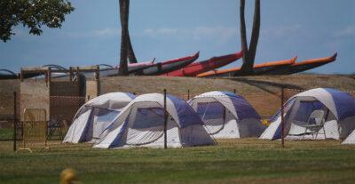 Tents at Keehi Lagoon Beach Park during COVID-19 pandemic. September 17, 2020