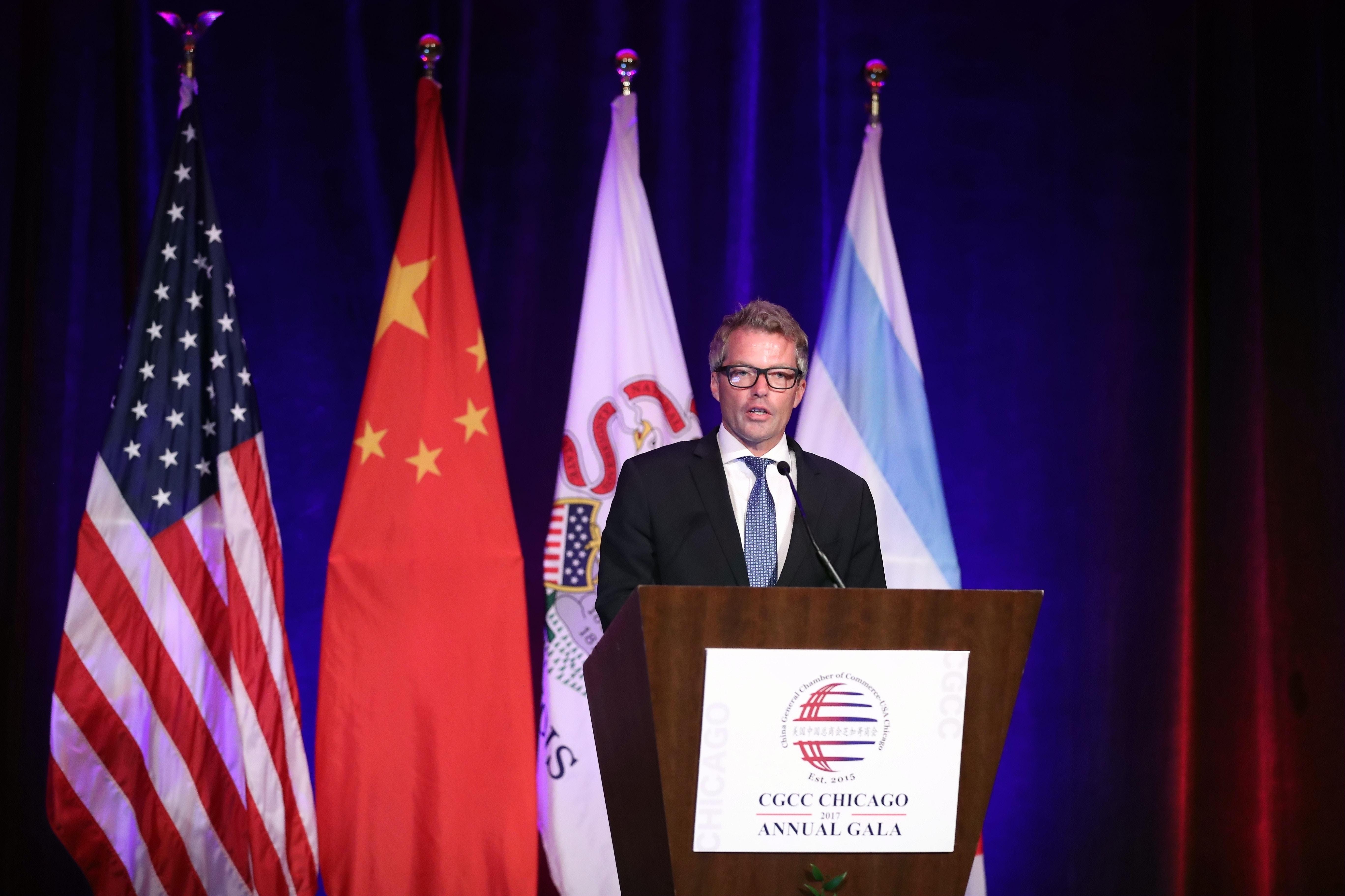 Senior White House Commercial Advisor Eric Branstad addresses the China General Chamber of Commerce in Chicago, on June 29, 2017.