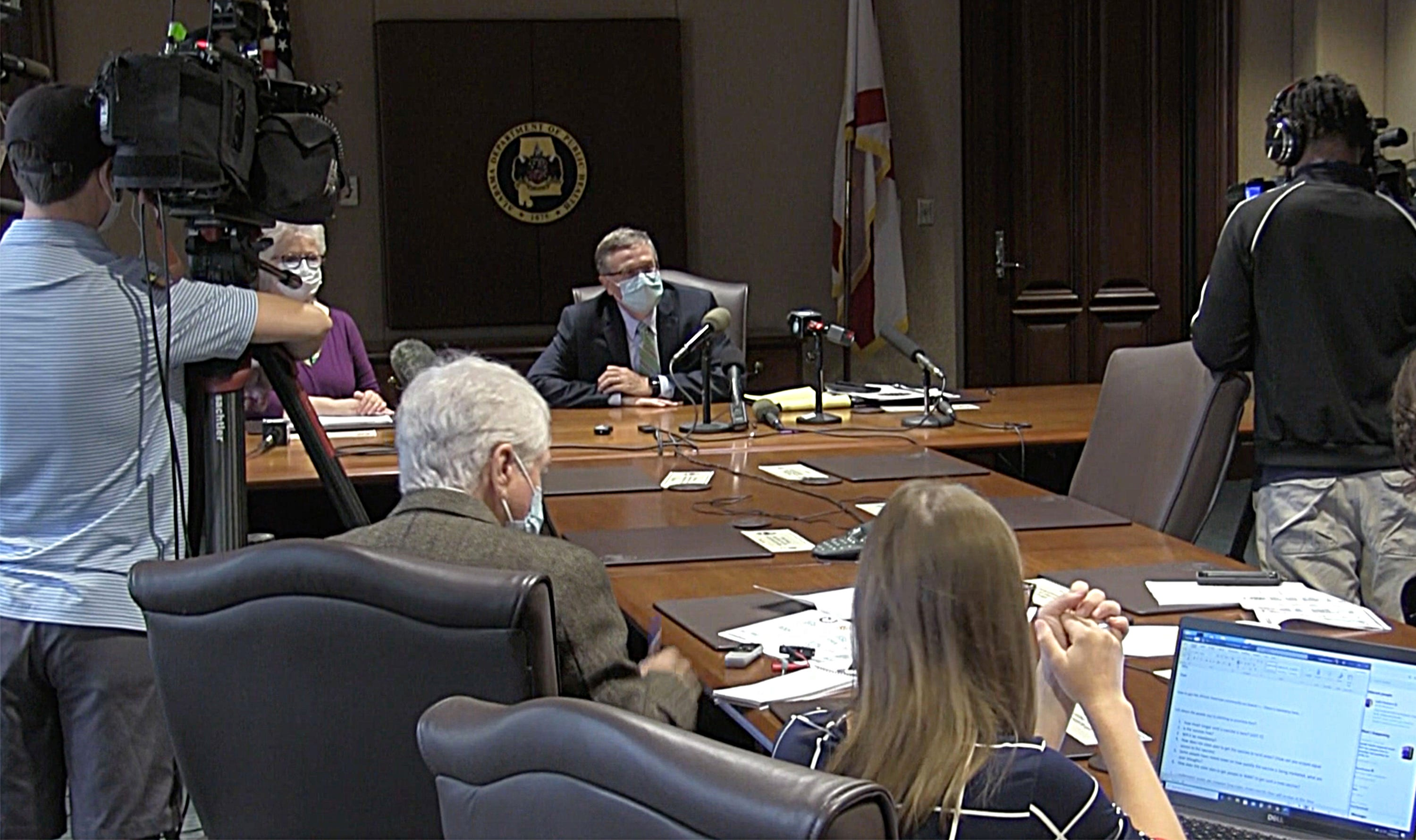 State health officer Dr. Scott Harris leads a discussion about of COVID-19 vaccinations at the Alabama Department of Public Health in Montgomery on Thursday, Oct. 15, 2020.