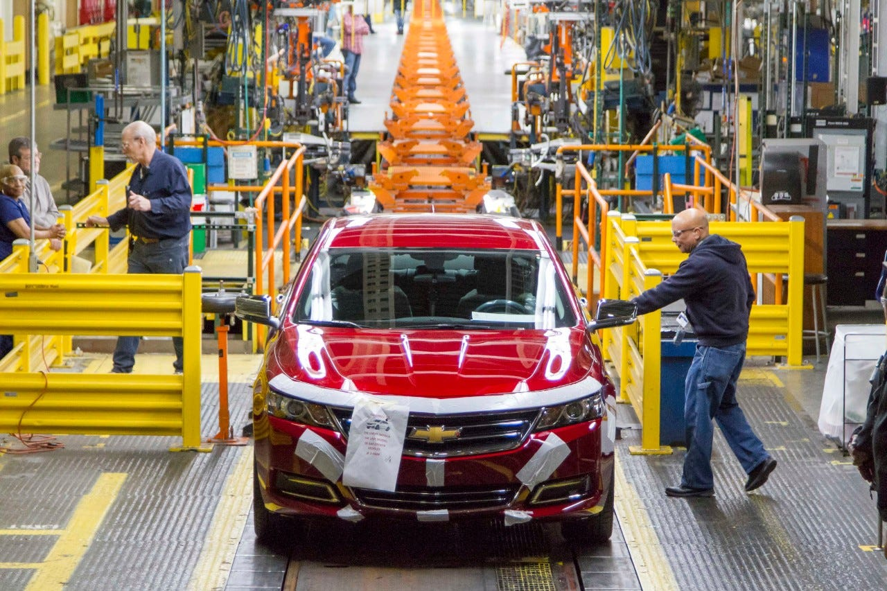 The last Chevrolet Impala to be built at Detroit-Hamtramck Assembly rolled off the line Thursday, Feb. 27, 2020. It's the last internal combustion engine car to be built at the plant. GM will idle the factory for 12-18 months and retool it to build all-electric vehicles.