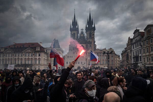 A protest against new coronavirus restriction's in the Prague's historic center on Sunday.