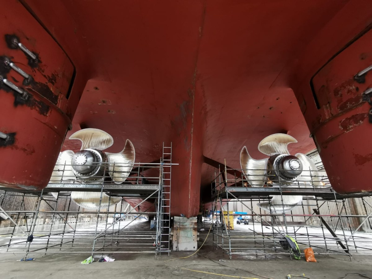 An impressive view of STENA SUPERFAST VIII's propellers taken while in Belfast Dry Dock, Harland & Wolff, during October 2020. © Stena Line.