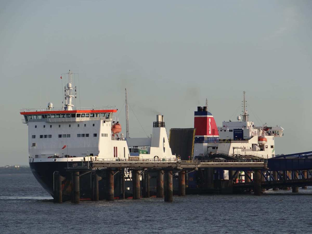 The chartered freighter SEATRUCK PANORAMA and STENA MERSEY seen together at 12 Quays, Birkenhead. © David Faerder.