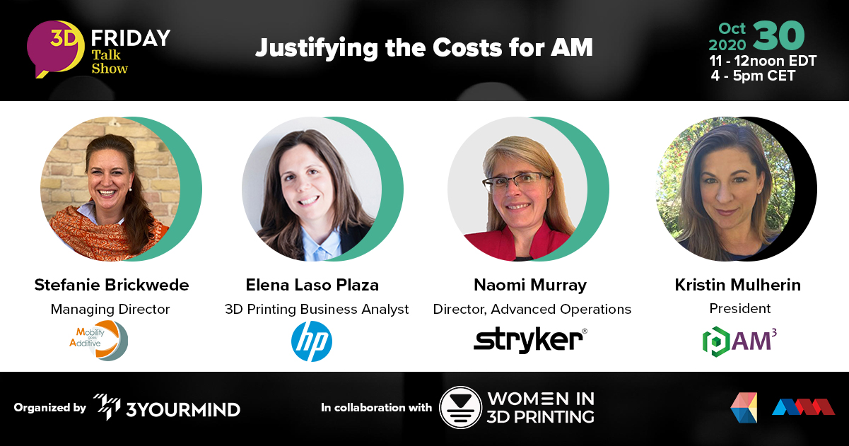 The panel includes Stefanie Brickwede of Mobility goes Additive, Elena Laso Plaza from HP, Naomi Murray of STRYKER, and AM-Cubed's Kristin Mulherin, discussing AM profitability,