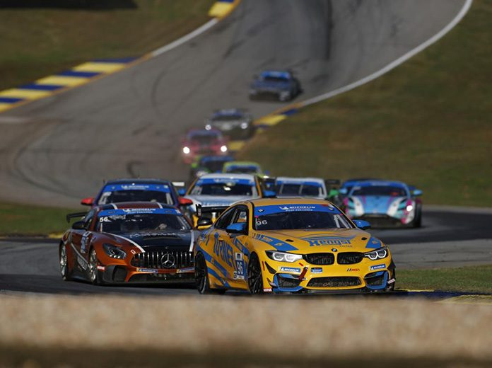 Vincent Barletta and Robby Foley drove the Turner Motorsport BMW M4 GT4 to victory in the Fox Factory 120 at Michelin Raceway Road Atlanta. (IMSA Photo)