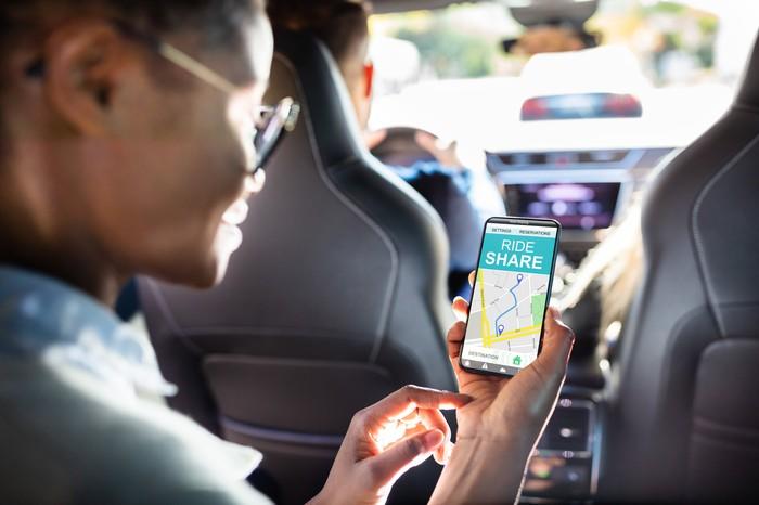 A customer on a rideshare app.