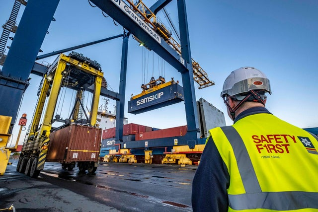 The arrival of the Vanquish into the Port of Grangemouth launched a new short sea shipping call with Samskip for Scottish exporters and importers direct into mainland Europe. Picture: Peter Devlin