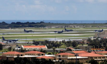 US military planes parked on the tarmac of Andersen Air Force base on the island of Guam, a US Pacific Territory.