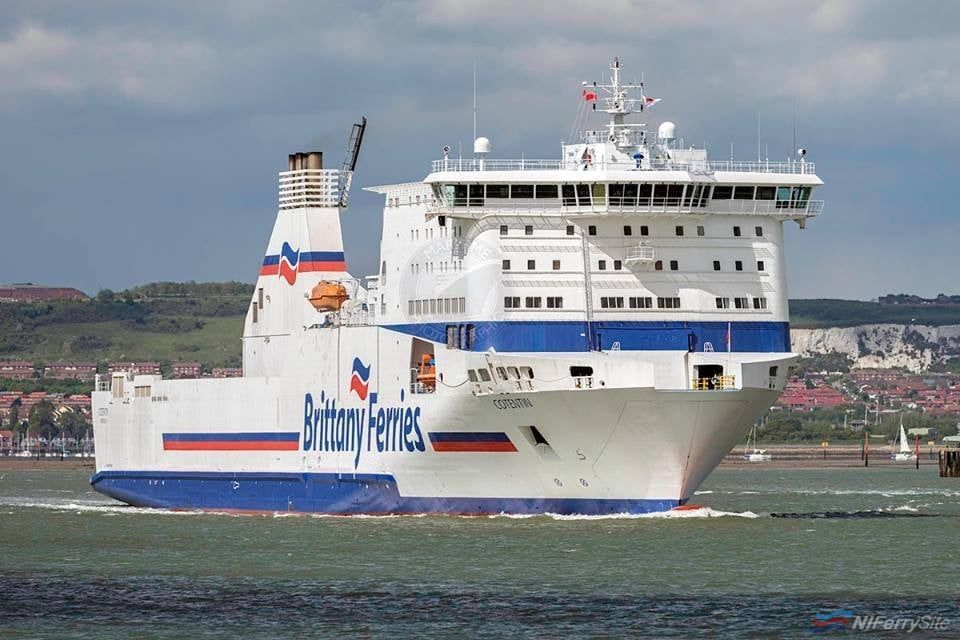 Brittany Ferries COTENTIN. She later became STENA BALTICA after a charter was agreed with Stena Line. Copyright © Gary Davies