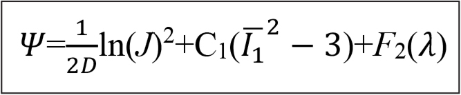 The strain-energy function, where C1 is the neo-Hookean constant and D is the inverse of the bulk modulus k=1/D.