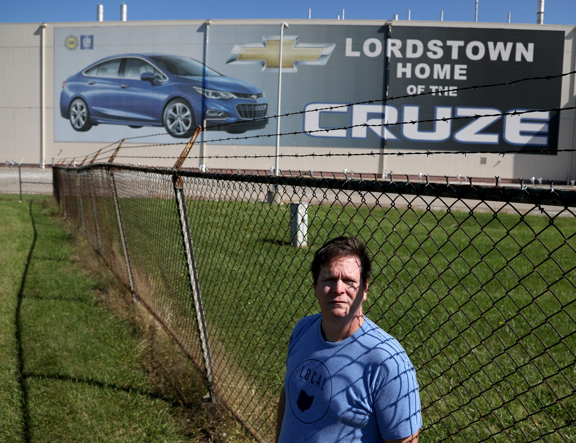 Mike Yakim at the empty GM Lordstown Assembly plant in Lordstown, Ohio, Wednesday, Sept. 18, 2019. Yakim worked at this plant where the Chevy Cruze was made until the plant was closed March of this year. He was transferred to the GM Lansing Delta Township in September but with the national wide strike has come back to Lordstown to picket in front of the empty plant in Lordstown with others.