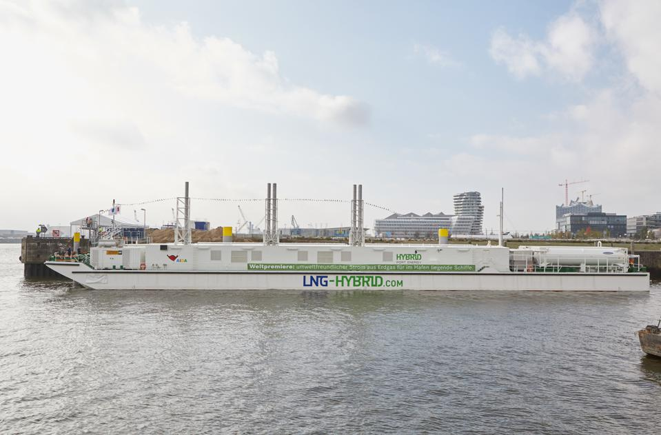 Europe and China have been leading the transformation of the maritime fleet toward green power technologies.  Seen here, a LNGHybrid Barge inHamburg,Germany.