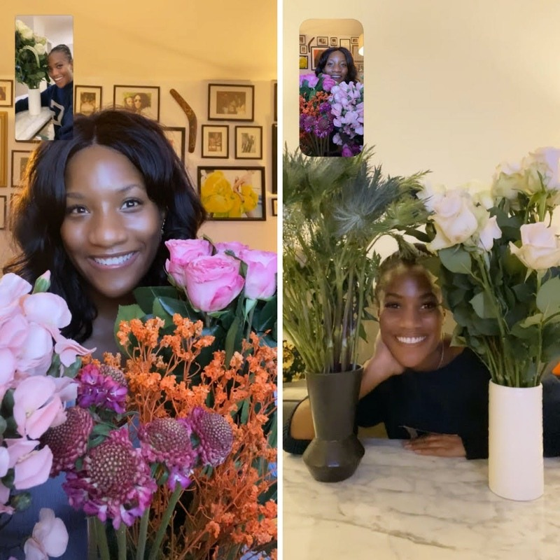 Two sisters arranging flowers at home through Zoom