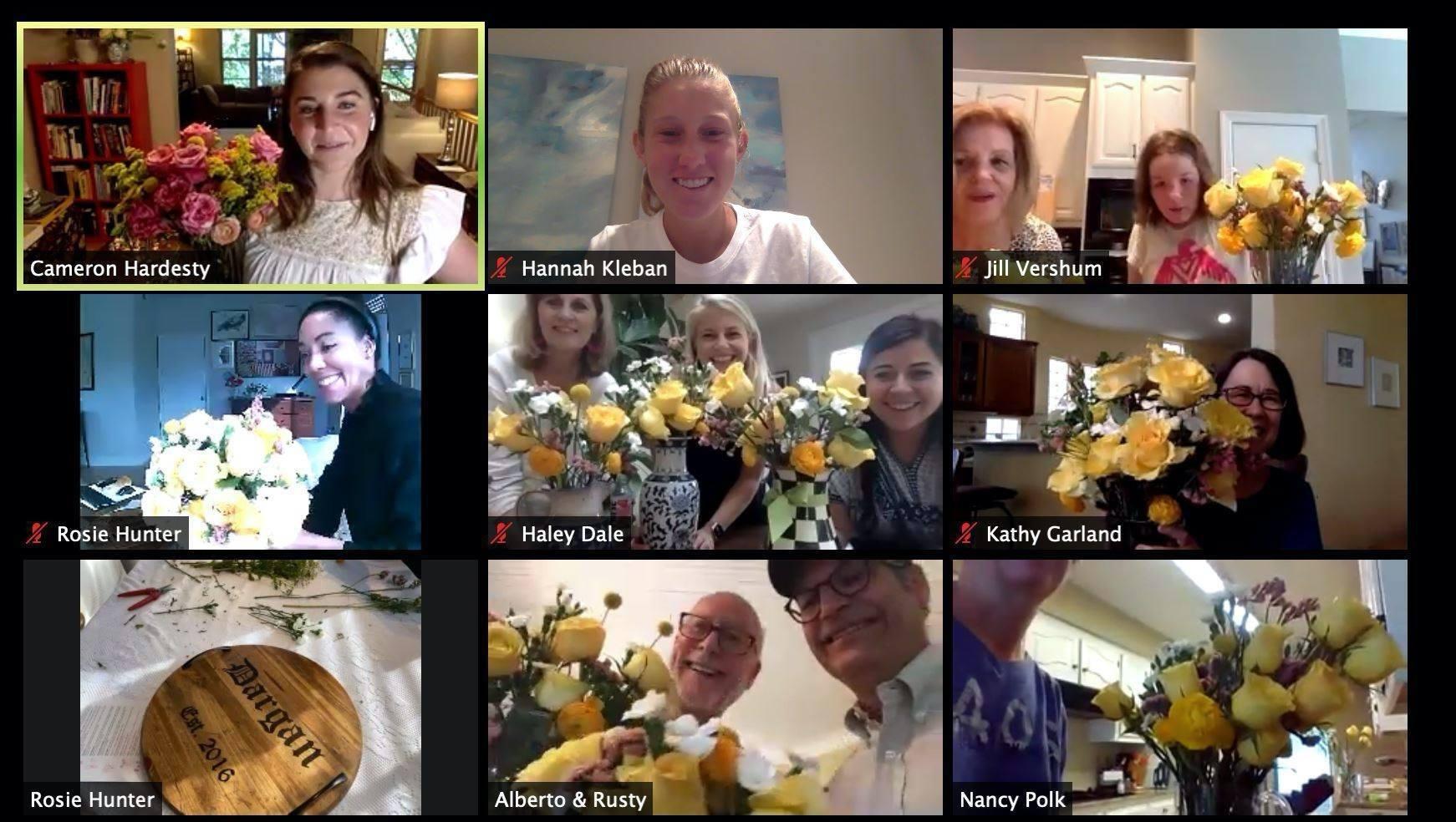 Virtual flower arranging workshop through Poppy Flowers