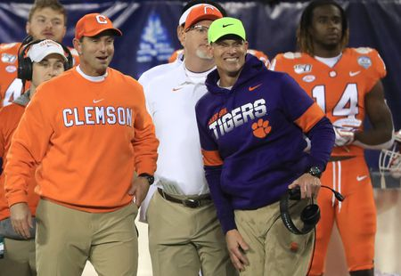 Clemson coach Dabo Swinney and defensive coordinator Brent Venables on the sideline at the 2019 ACC Championship Game.
