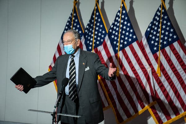 Senator Charles E. Grassley of Iowa speaking to reporters at the Hart Senate Office Building in Washington last month.