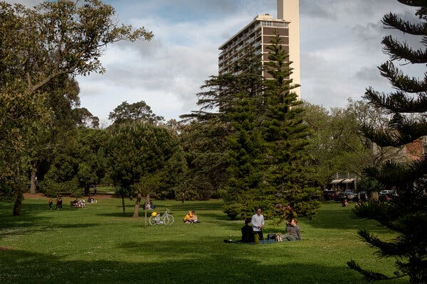 People socially distancing in a park in Melbourne in October.