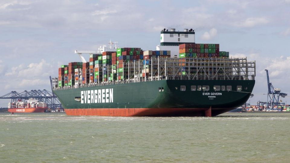 An Evergreen container ship at Felixstowe Port