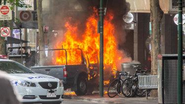 The attack scene on Bourke Street.
