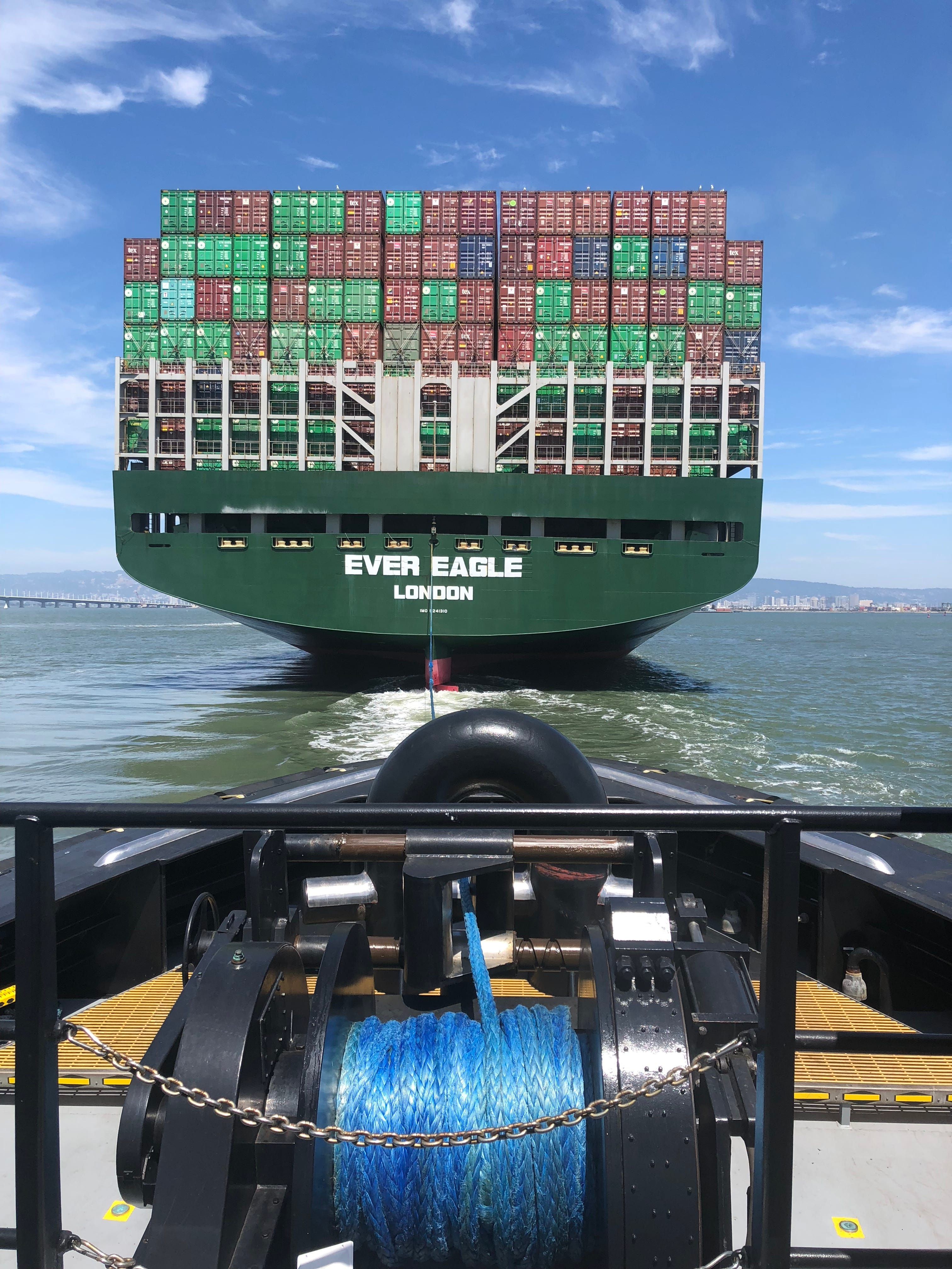 The view from a Centerline Logistics tugboat operating in San Francisco Bay.